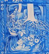 Série fenêtres bleues acrylique #2 L'ENFANT A SES DÉCOUVERTES