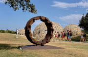"""Circle - door to the future  (C-41)""  H.250x350x120cm/corten steel/2018/Sculpture by the Sea  Bondi 2019,  Sydney, Australia"