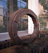 """Circle - harmony  (C-06)""          H.200x300x70cm/cor-ten steel/1993 Higashimurayama community center, Tokyo"