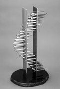 """Space - floating prism  (K-34)""     H.50x28x25cm/stainless steel/1989"