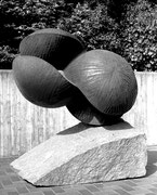 """Space - divided globe  (K-04)""                    H.200x200x100cm/mild steel/1983"