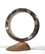 """""""Circle - yakibame (shrink fit)"""" <C-44>    H.55x45x30cm/stainless steel, stone/2018"""