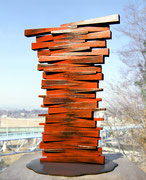 """Fire Marking - 17+17  (F-02)""      H.50x35x30cm/cor-ten steel/1990"
