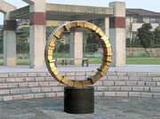 """Circle - harmony  (C-10)""          H.200x145x60cm/brass, stainless steel/1994 Takasuaobadai New Town, Fukuoka, Japan"