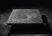 """Fire Marking - 21x21凹  (F-04)""     H.20x120x120cm/mild steel/1991"