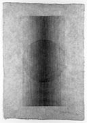 """Overlap (up-down) <K-27)>     H.68x48cm/ tibet paper, carbon (drawing)/1987 (作家蔵)"