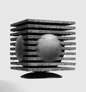 """Space - in the cube  (K-26)""      H.24x20x20cm/corten steel/1987"