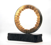 """Circle - harmony (C-49)"" H.50(∅40)x50x20cm/brass, stainless steel, granite/2021"