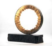 """Circle - harmony (C-49)"" H.50(∅40)x50x20cm/brass, stainless steel, granite/2021"