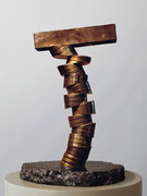 """Space - divided column  (K-13)""        H.34x20x20cm/brass/1985"