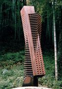 """Space - virtual・real  (K-09)""     H.230x70x40cm/cor-ten steel/1984"