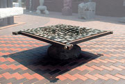 """Fire Marking - 21x21凹  (F-14)""                         H.70x215x215cm/mild steel/1992"