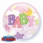 """Balon """"Bubble"""" - Baby różowy. 55 cm. Cena z helem 29 zł"""