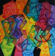Titel: Origami Materiaal: Alcyd/Olie Afmeting :60cm x 60cm