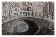 Amsterdam landscape with bridge / Amsterdamer Landschaft mit Brücke 19x28cm  2012
