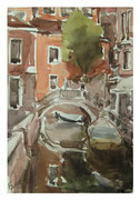Venetian landscape with the tree and bridge  /Venezianische Landschaft mit Baum und Brücke   35,5x24  2012