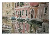 Venice. Landscape with pink house  /  Venedig. Landschaft mit dem rosafarbenes Haus    23,5 x33,5 2013