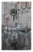 Venetian landscape with boats  /  Venezianische Landschaft mit Booten   35x22  2012