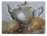 Teapot and pears / Teekanne und Birnen   18,5x24,5cm  2011