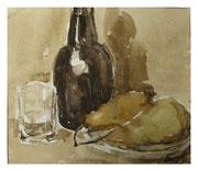 Still life with bottle and pears / Stillleben mit Flasche und Birnen   20x23cm  2012