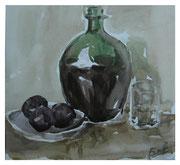 Wine and plums II / Wein und Pflaumen II  24x26,5cm  2011