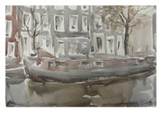 Autumn day in Amsterdam  /  Herbsttag in Amsterdam    23x33cm   2012