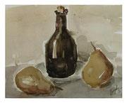 Two Pears and bottle / Zwei Birnen und Flasche  18x23cm  2011