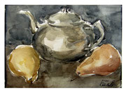 Still Life with Teapot and pear / Stillleben mit Teekanne und Birne  18x24cm  2011