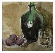 Wine and plums / Wein und Pflaume   22,5x23,5cm  2011