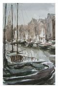 Ships on Oudeschans  /  Schiffe am Oudeschans   46x28cm  2005
