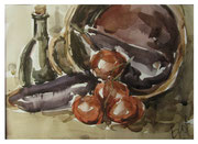 Still life with eggplants / Stilleben mit Auberginen   22,5x31cm  2013