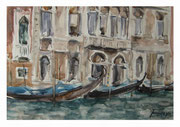 Palaces and gondolas. Venetian sketch  /  Paläste und Gondeln. Venezianische Skizze  23x33,5 2012