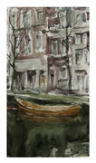 Amsterdam landscape with orange boat / Amsterdamer Landschaft mit Orangen Boot   35x19cm  2011