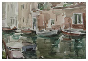 Venezia. Boats on the channel  /Venezia. Booten am Kanal   23,5x34,5  2012