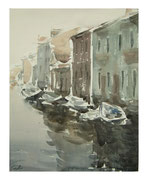 Boats at the outskirts of Venice  /  Boote am Randstadt von Venedig   35,5x28,5 2011
