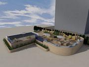 Iinstallazione di un solarium in legno con piscina smontabile