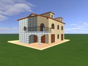 Rendering per i lavori di costruzione di una casa colonica