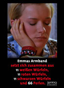 Emma's bracelet consists of 11 white dice 11 red dice 11 black dice and 66 pearls.