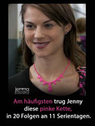 Jenny most often wore this pink necklace - in 20 episodes on 11 series days.
