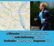 7 kilometers / 4.3 miles (beeline) is the actual distance in Cologne between the Beschenko apartment and the Bergmann villa.