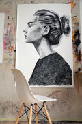 "AVAILABLE - ""Portrait 301"" contact me: info@dariomoschetta.com - Black pastel on paper 100x150cm"