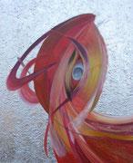 Phönix 80 cm x 100 cm Leinwand auf Keilrahmen Tempera, Öl, abgeschl. Struktur, Schlagmetall, fixiert (kann im Hoch- und Querformat gehängt werden)