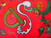Quetzalcóatl (Le serpent à plumes 92x65 cm, acrylique sur toile, 2007. (Collection particulière Talence)
