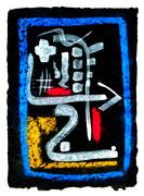 """""""Ikone 2"""" / WVZ 2.999 / datiert 07/00 / Kreide und Tusche auf schwarzem Japanpapier / Maße b 21,0 cm * h 29,7 cm"""