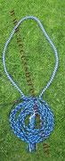 Halsring geflochten mit Longe blau
