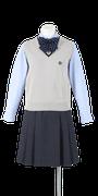 徳島科学技術高校女子合い制服(ニットベスト着用)