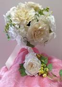 #ラウンドブーケ#プレ花嫁#手作りウェディング#結婚式#名古屋プリザーブドフラワー#手作りブーケ#ブーケ手作り体験#こだわりウェディング  参考価格¥18,000(税別)