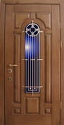 Металлическая дверь с отделкой МДФ + стекло + ковка в городе Истра.
