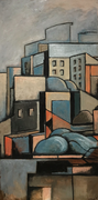 URBAN LANDSCAPE N.2 - Oil on wood - 80x40cm. - 2018 - Private collection, Hollywood, Los Angeles (USA)