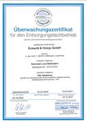 Überwachungszertifikat für den Entsorgungsfachbetrieb gemäß § 56 Kreislaufwirtschaftsgesetz (KrWG) 2021